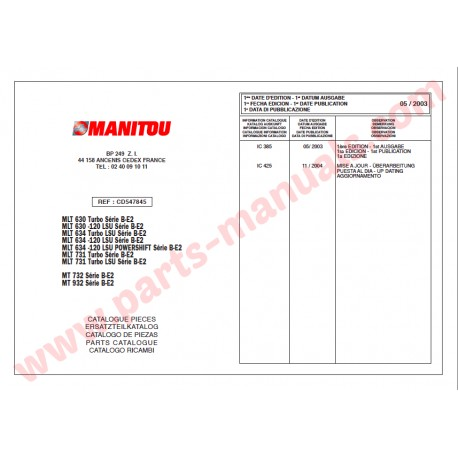 MANITOU OPERATOR, PARTS, SERVICE MANUAL on